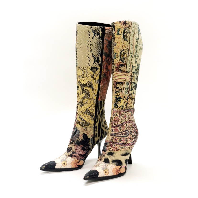Roberto Cavalli Printed Knee High Boots