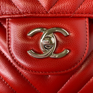 Chanel 2016 Red Chevron Jumbo Double Flap Bag