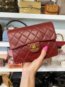 Chanel Red Mini Square Classic Flap Bag