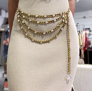 Chanel Vintage Crystal Chain Belt