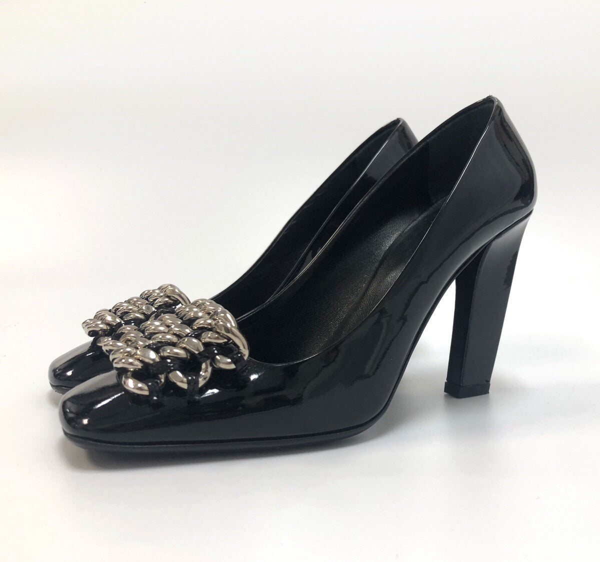 Prada Black Patent Chain Pumps