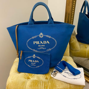 Prada Blue Canvas Gardener Tote