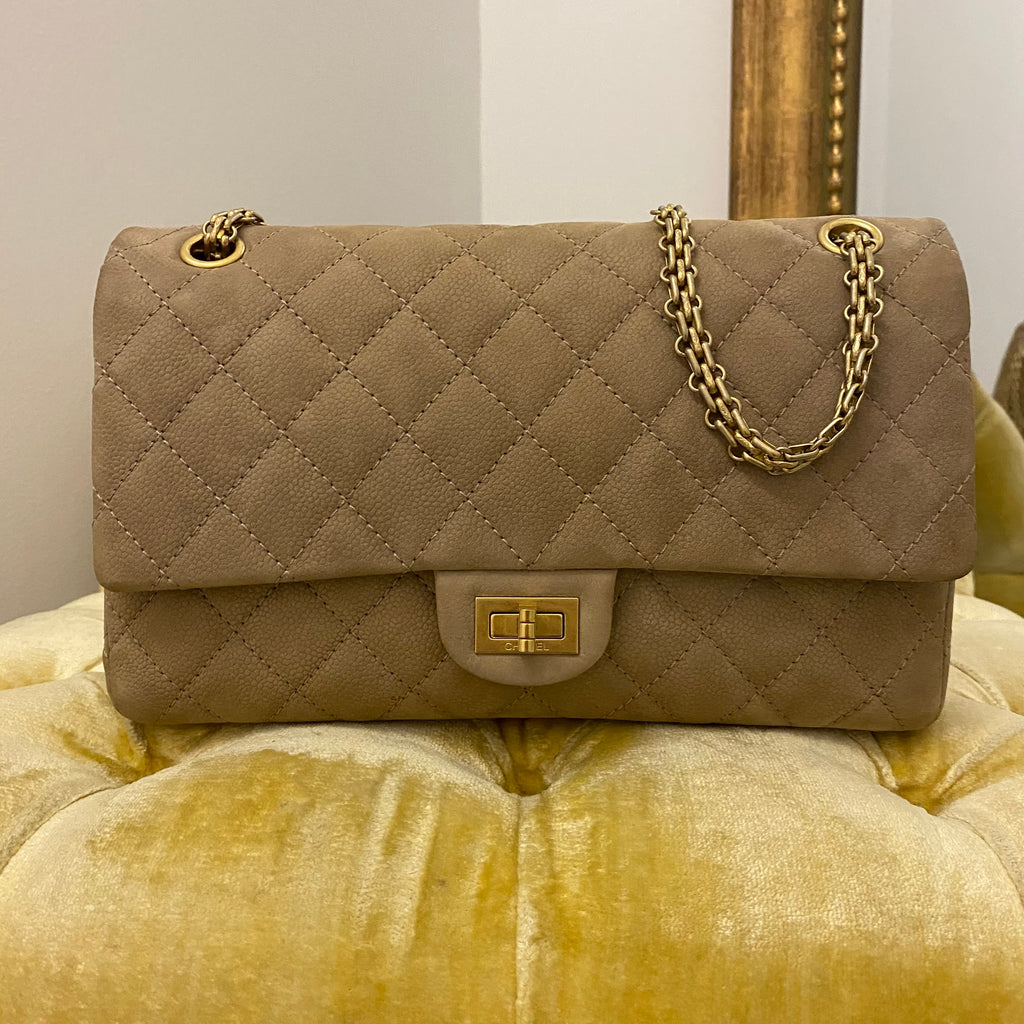 Chanel Beige Iridescent Caviar 2.55 Reissue 226 Double Flap Bag