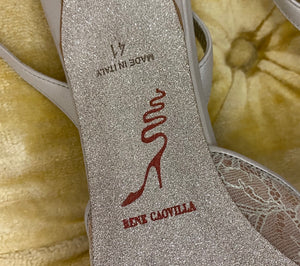 René Caovilla Jeweled Lace Sling Back Heels