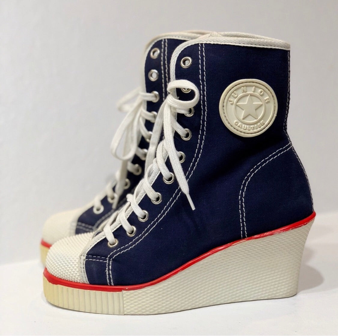 Junior Gaultier Vintage High Top Wedge Sneakers