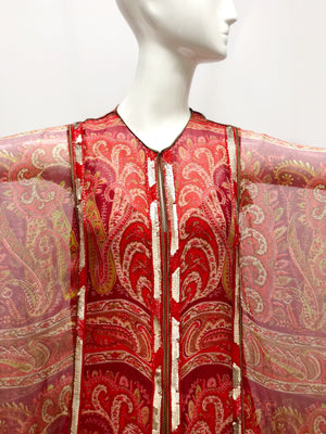 Reserved Thea Porter Red Sequin Chiffon Caftan