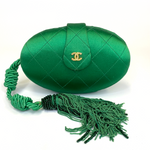 Chanel Vintage Green Evening Clutch