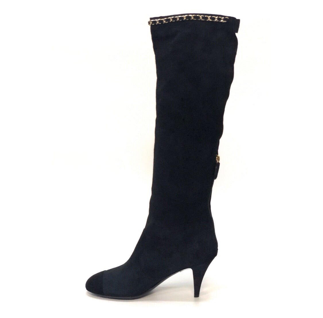 Chanel Chain Trim Knee High Boots
