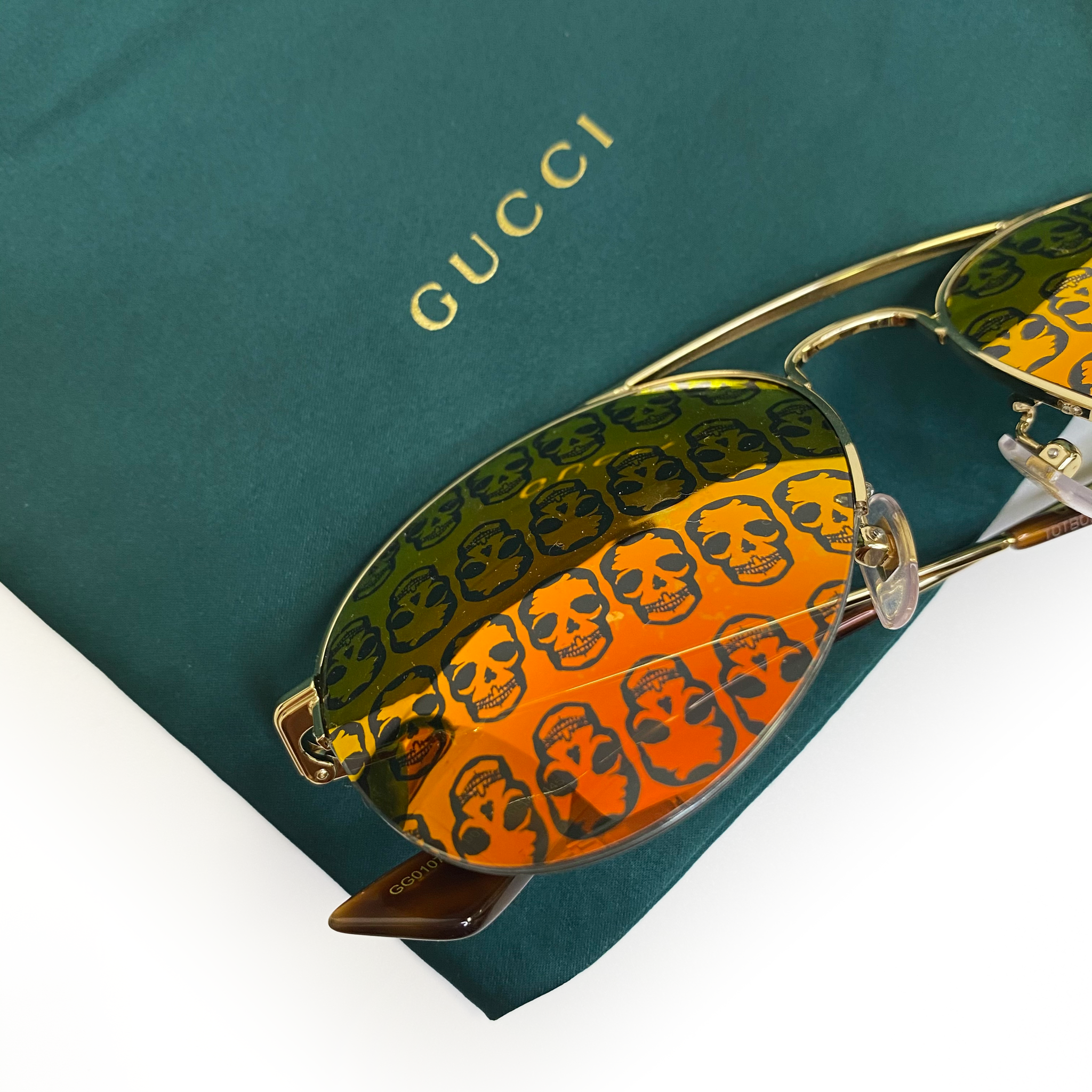 Gucci Reflective Skull Aviator Sunglasses