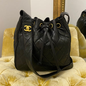 Chanel Vintage Black Quilted Bucket Bag