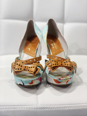 Christian Dior 2003 Asian print and snakeskin heels