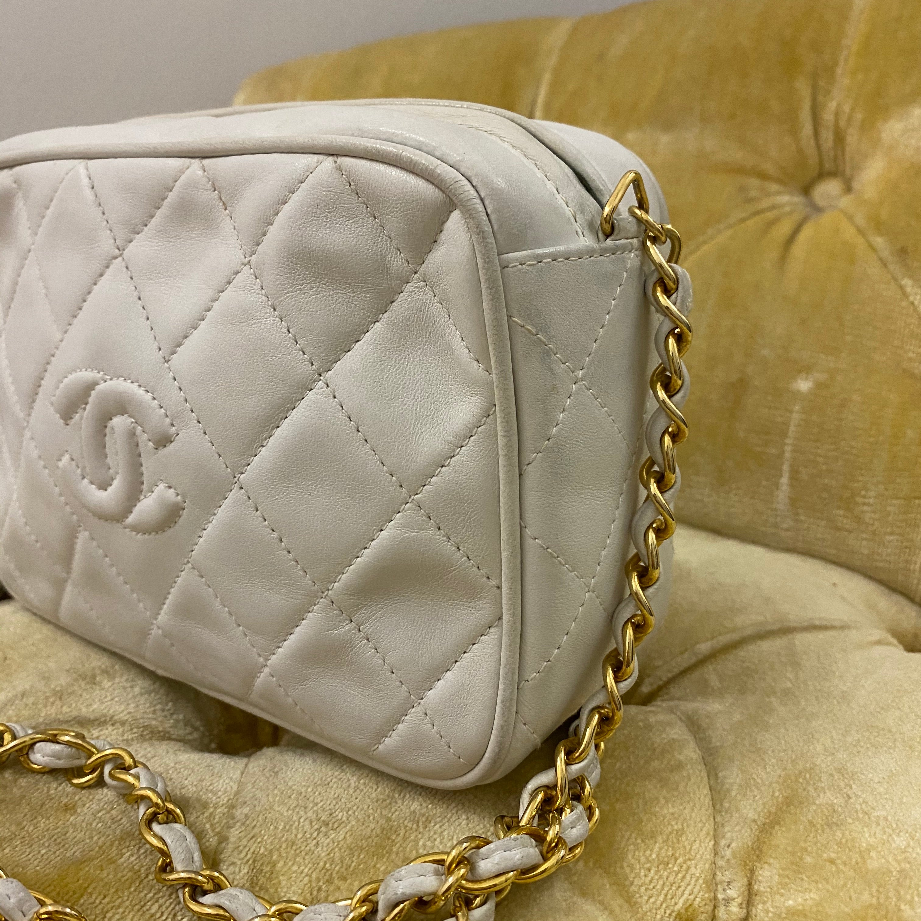 Chanel Vintage White Quilted Camera Bag