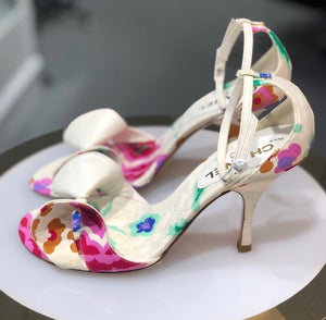Chanel White Floral Heeled Sandals