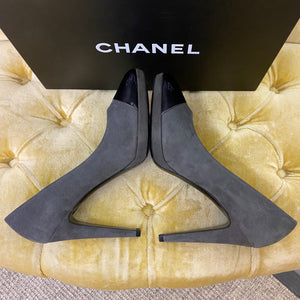 Chanel New Grey Suede Platform Heels