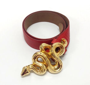 Barry Kieselstein-Cord Gold Snake Buckle with Red Lizard Belt Strap