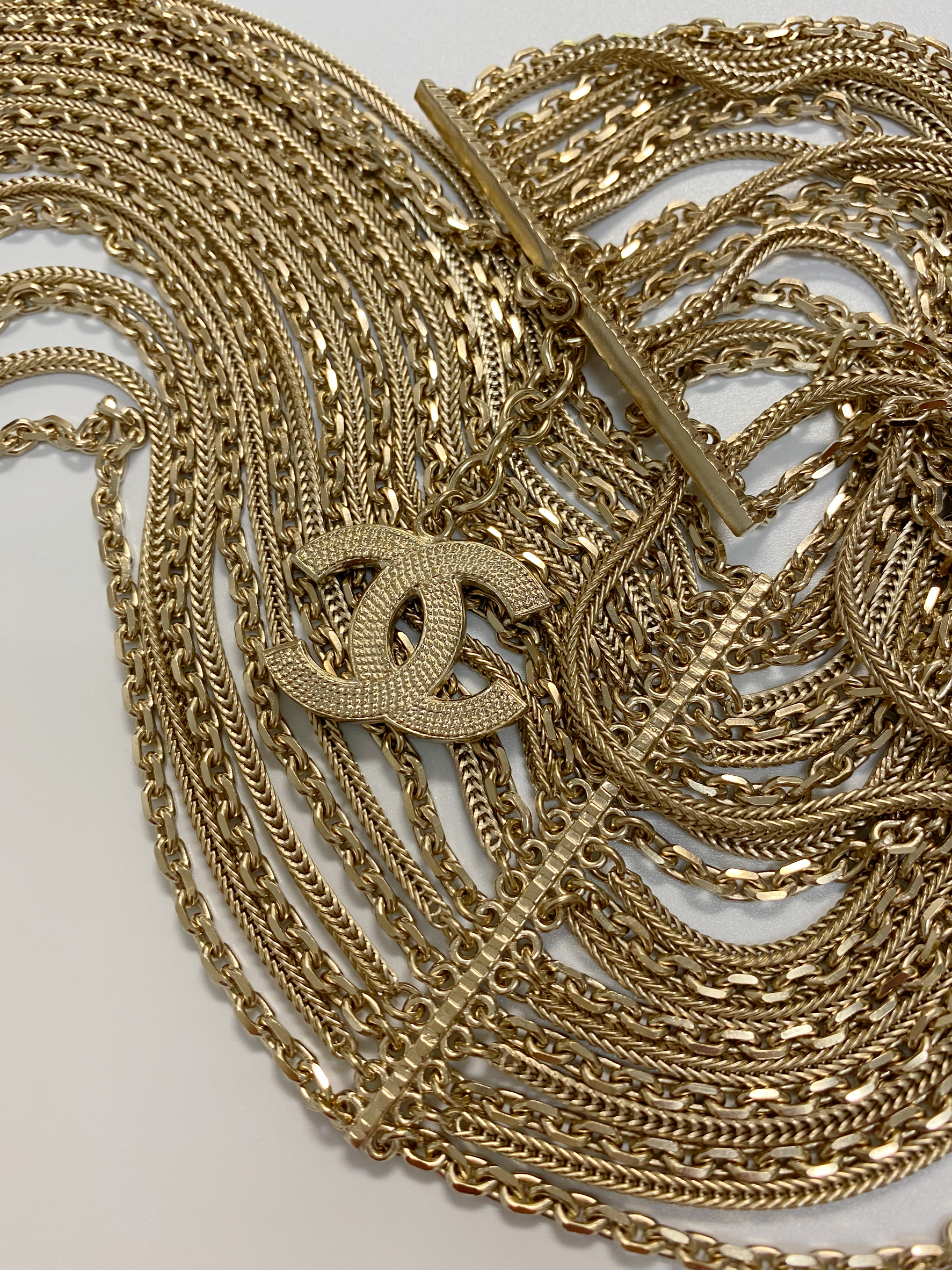 Chanel Light Gold Multi Chain Belt