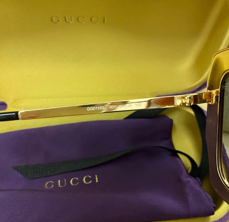 Gucci Crystal Embellished Gold Oversized Sunglasses