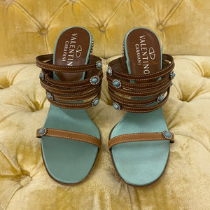 Valentino Garavani Turquoise and Rhinestone Heeled Sandals