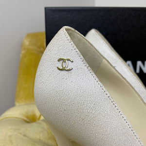 Chanel White Crackled Leather Heels