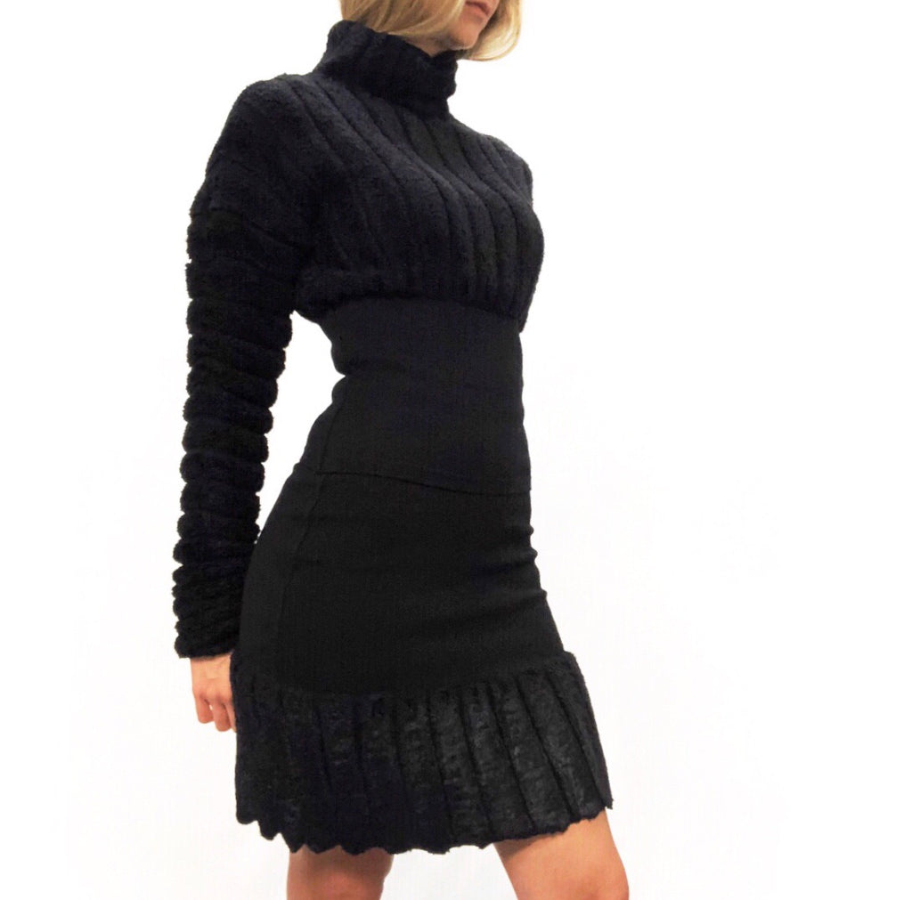 Alaïa 1991 Black Chenille Skirt Set