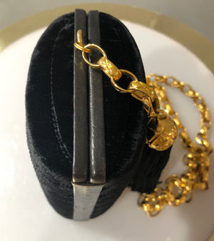 Chanel vintage black velvet evening bag