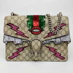 Gucci Embellished GG Supreme Medium Dionysus Shoulder Bag