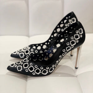 Rodo Black and White Cutout Pumps