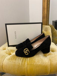 Gucci Black Suede Kiltie Pumps
