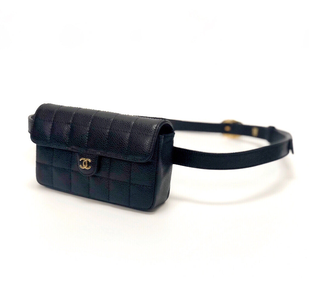 Chanel Vintage Black Caviar Belt Bag