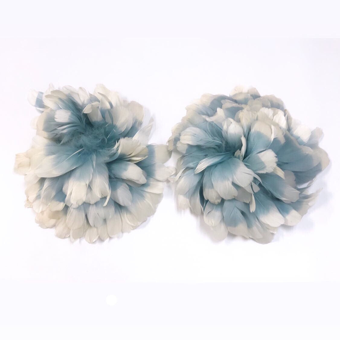 Vintage Baby Blue and White Feather Cuffs
