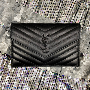 Saint Laurent Black Chevron Wallet on Chain