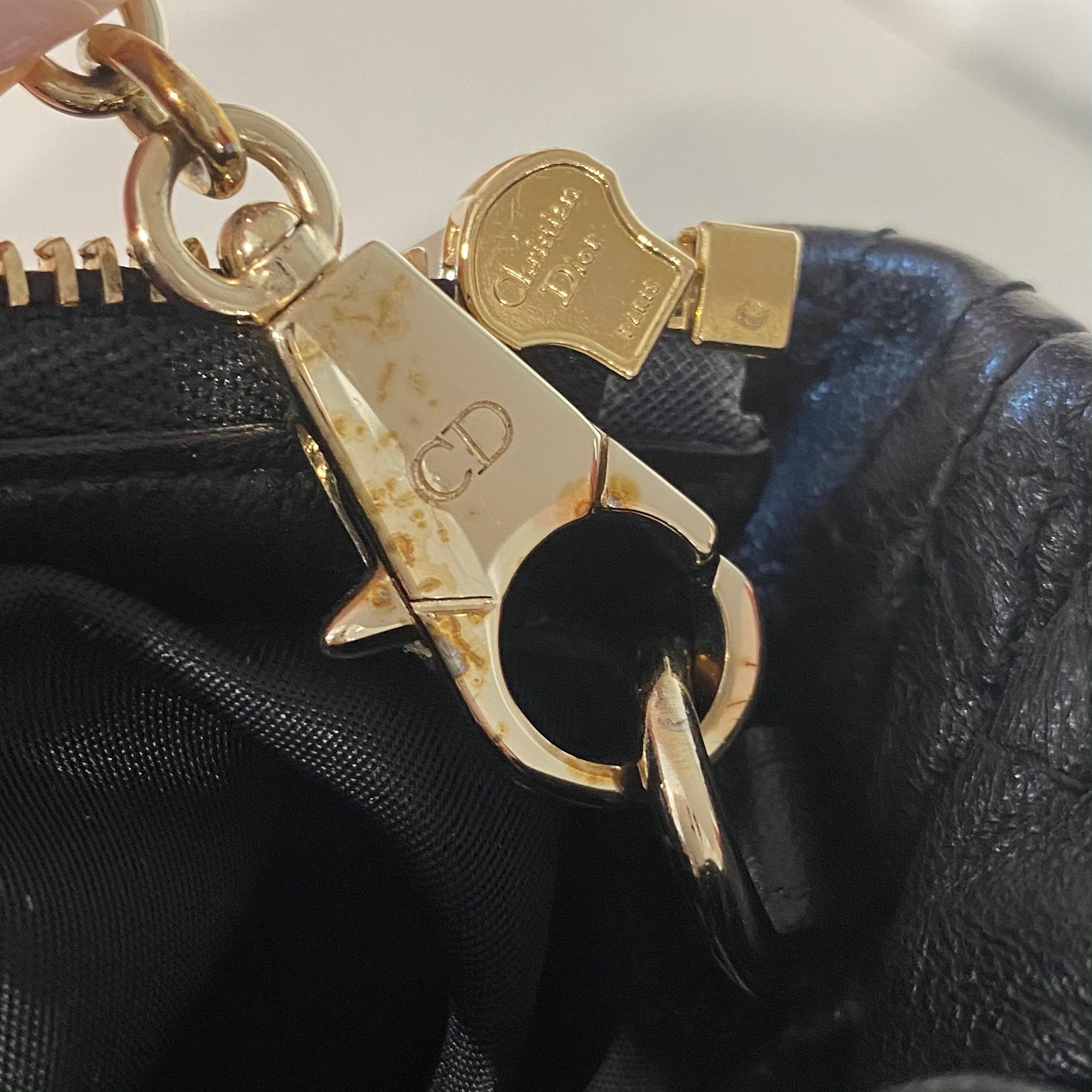 Christian Dior Black Cannage Pochette with Chain