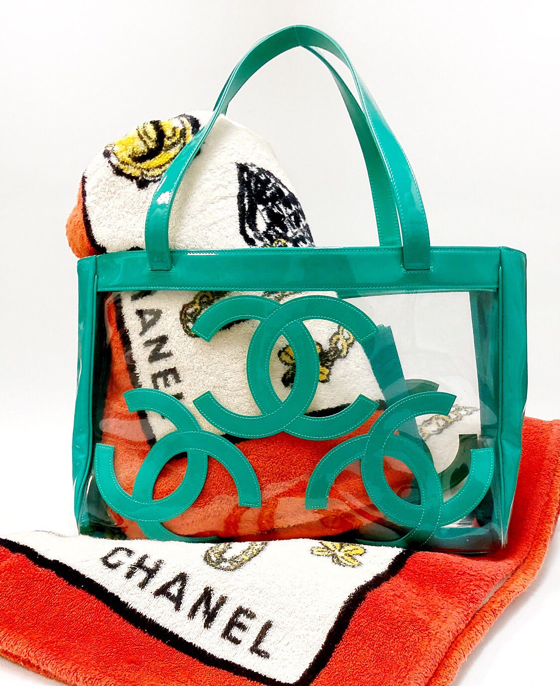 Chanel Turquoise Logo and Clear PVC Tote