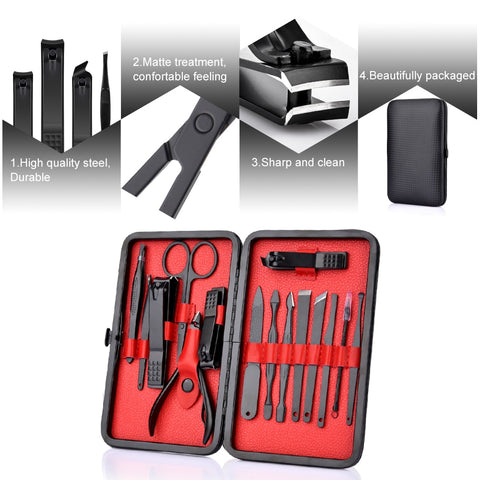 15 Pc Black Stainless Steel Ladies Manicure Set - [variants]