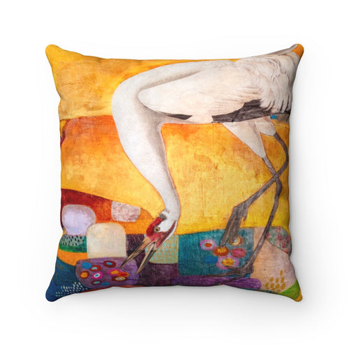 Crane at the Slough, Square Throw Pillow