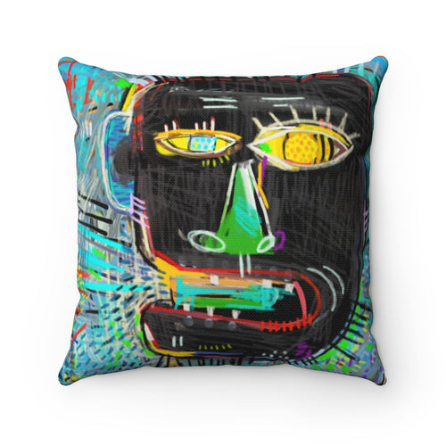 Basquiat-Inspired Urban Style Square Throw Pillow