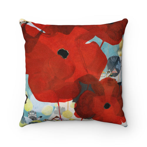 Poppies in the World Beyond, Faux Suede Throw Pillow