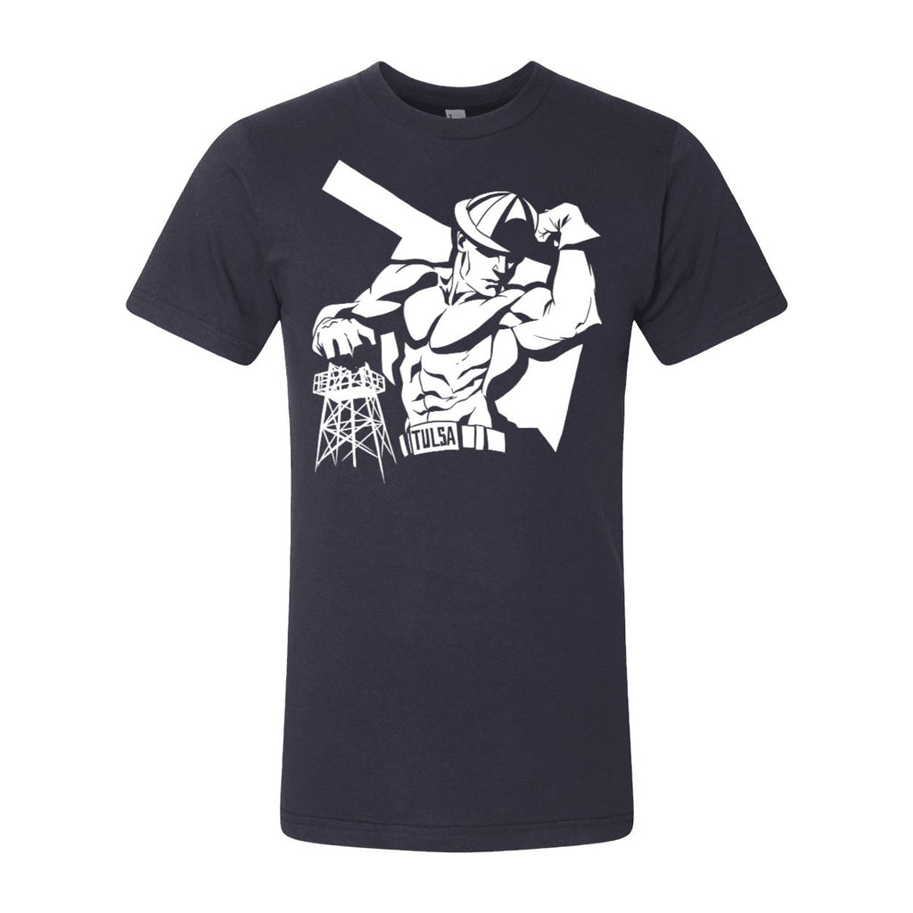 Hunk Driller by Zach Raw Tulsa Golden Driller  t-shirt Tee - Boomtown Tees
