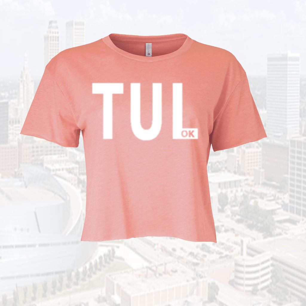 TUL OK  Short Sleeve Cali Festival Crop Top Ladies Tee T-shirt Tulsa, OK - Boomtown Tees