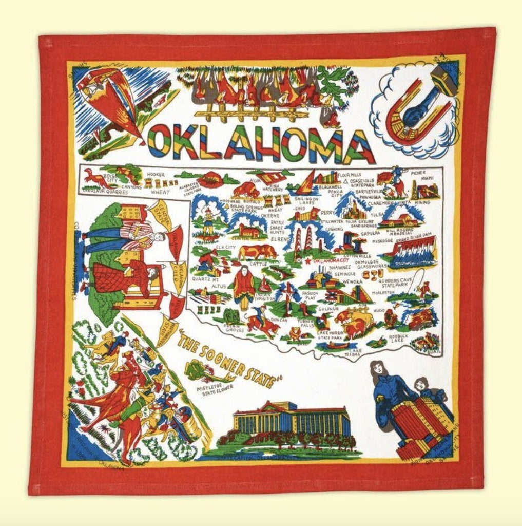 "Oklahoma Map Flour Sack 22"" x 22"" Towel Home Collection - Boomtown Tees"