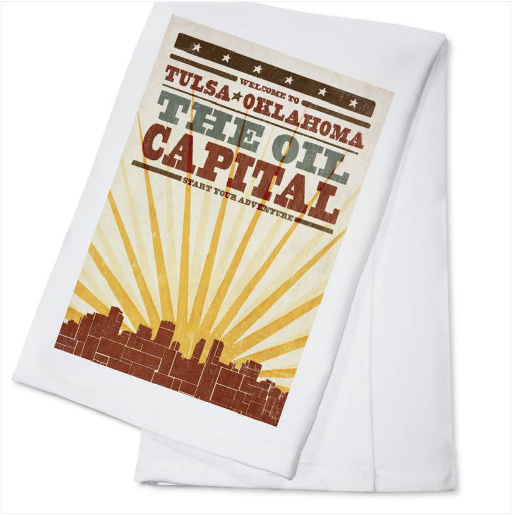 Tulsa Oil Capital of the World Kitchen Tea Towel Home Collection - Boomtown Tees