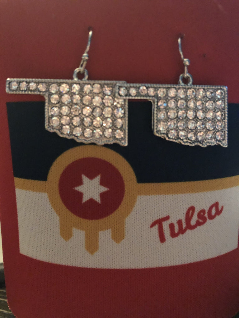 State of Oklahoma Bling Earrings - Boomtown Tees