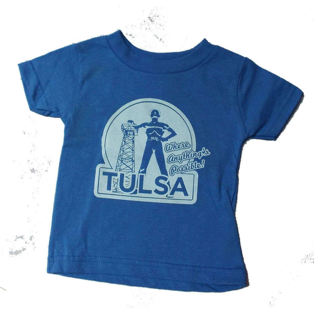 Anythings's Possible Tulsa Toddlers Tee Featuring Golden Driller - Boomtown Tees