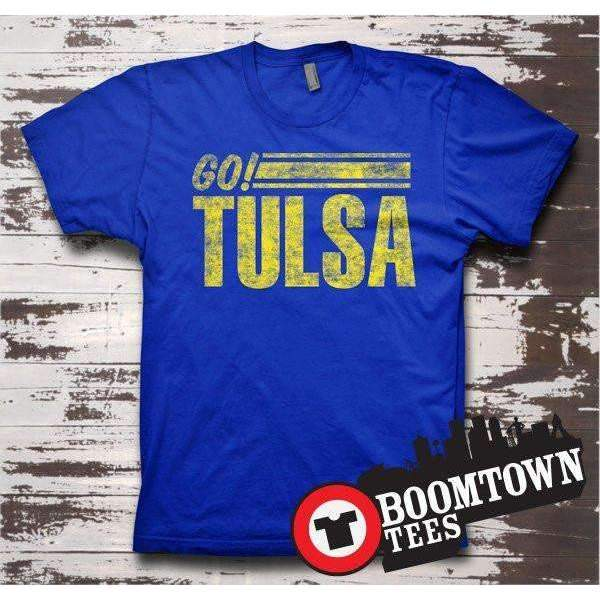 Go Tulsa! Blue and Gold Sprit Tee T-shirt Tee - Boomtown Tees