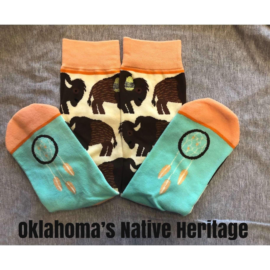 Oklahoma Native Heritage Bison Buffalo Socks featuring Dream Catcher - Boomtown Tees