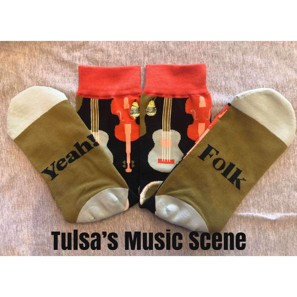 Tulsa Music Scene socks featuring Guitar Banjo and Fiddle - Boomtown Tees