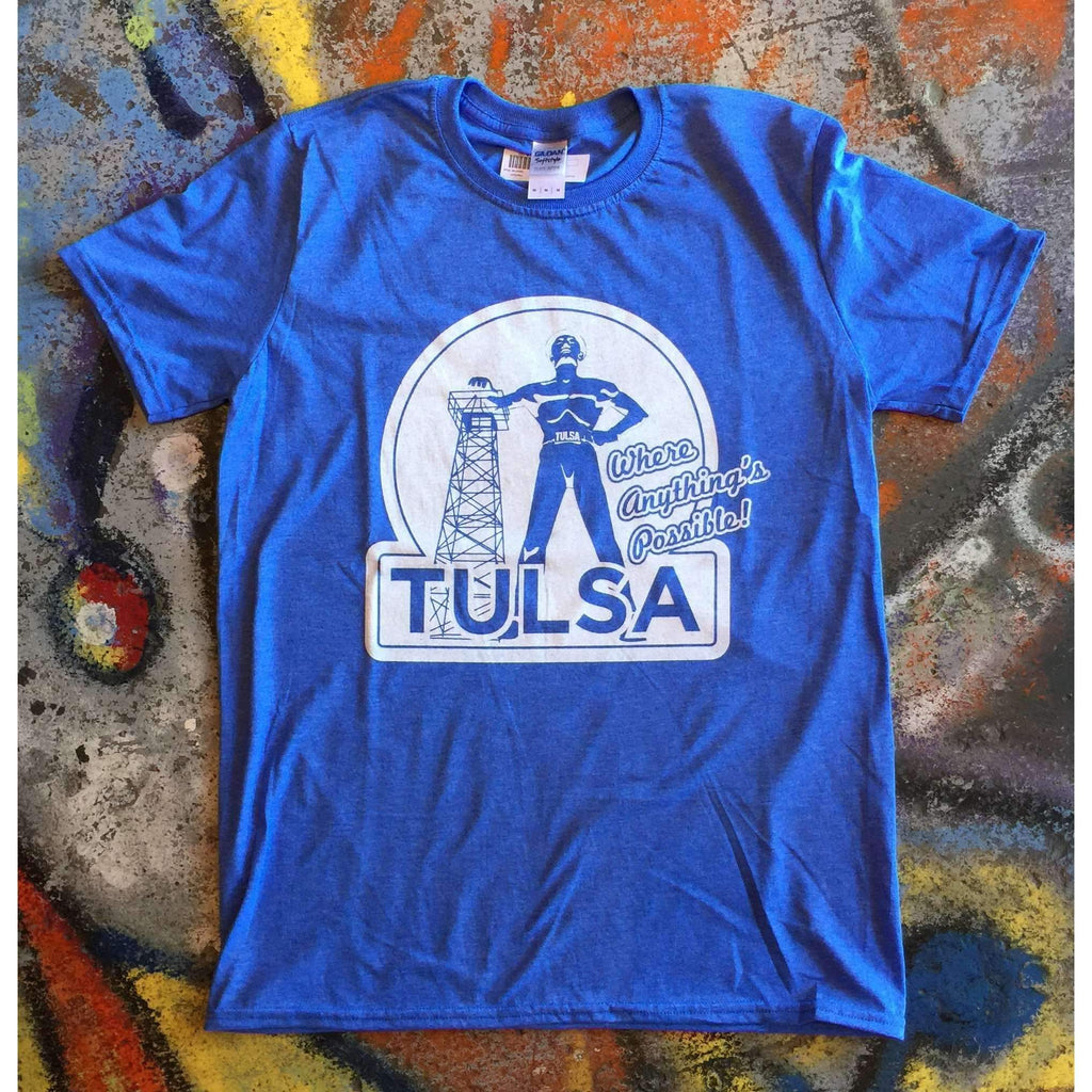Tulsa Anythings Possible Featuring the Golden Driller Tee T-shirt Oklahoma - Boomtown Tees