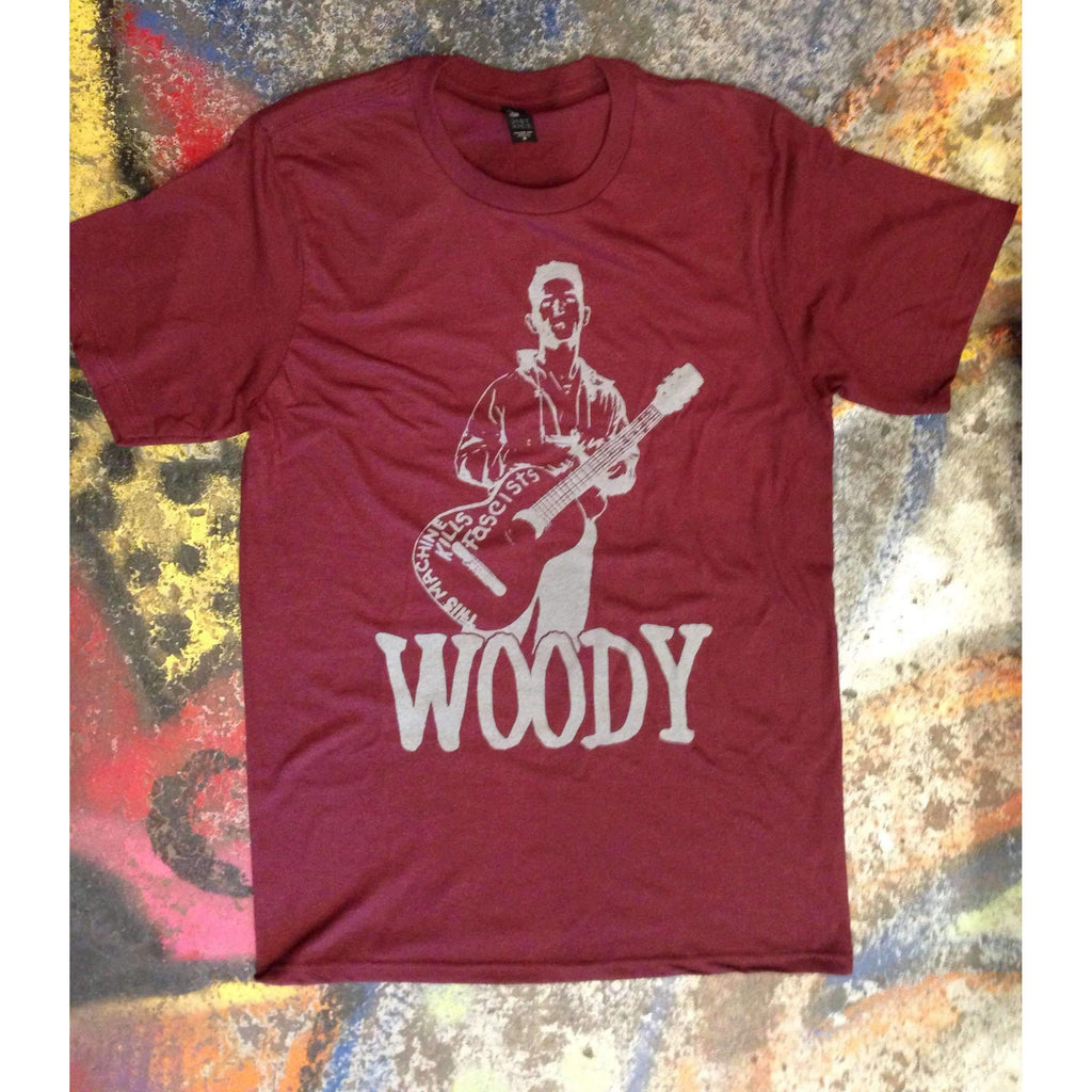 Woody Guthrie with This Machine Kills Fascists on Guitar - Boomtown Tees