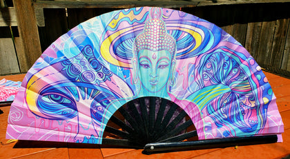 Trippy Buddha - Hand Fan