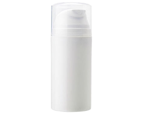 Airless Pump Dispenser, White Plastic with Clear PP Overcap (100ml)